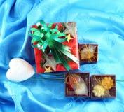 Cadre de cadeau rouge réglé avec la bande verte Image stock