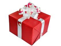 Cadre de cadeau rouge sur le fond blanc. Image libre de droits