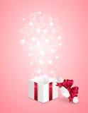Cadre de cadeau sur le fond rose Images stock