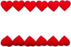 Cadre de carte de voeux des coeurs rouges sur un fond blanc avec la Co photographie stock libre de droits