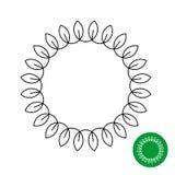 Cadre de cercle avec des feuilles Ligne laurier rond de style illustration de vecteur