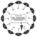 Cadre de cercle d'enseigne avec des parapluies dans différentes positions sur le fond blanc illustration stock