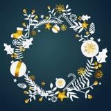 Cadre de cercle d'ornement de guirlande de Noël Copiez l'espace illustration de vecteur