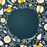Cadre de cercle d'ornement de Noël Copiez l'espace illustration stock