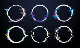 Cadre de cercle de problème Le chaos de signal tordu par TV, les cadres glitched de déformation d'effet de la lumière d'anneau et illustration libre de droits