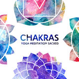 Cadre de chakras d'aquarelle Image libre de droits