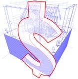 Cadre de Chambre avec les dimensions et le diagramme de symbole dollar Photographie stock