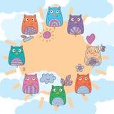 Cadre de ciel du soleil de cercle d'aile de main de hibou illustration stock