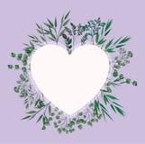 Cadre de coeur avec des feuilles de laurier illustration stock