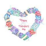 Cadre de coeur avec les éléments de tricotage d'aquarelle : fil, aiguilles de tricotage et crochets de crochet Photos stock
