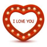 Cadre de coeur avec les ampoules Image stock