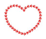 Cadre de coeur avec les animaux rouges de pattes illustration stock