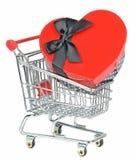 Cadre de coeur d'amour dans le caddie Images libres de droits