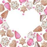 Cadre de coeur d'aquarelle des biscuits de Noël ou de nouvelle année illustration libre de droits