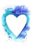 Cadre de coeur d'aquarelle sur le fond grunge bleu Images stock