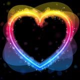 Cadre de coeur d'arc-en-ciel avec des étincelles Image stock