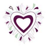 Cadre de coeur des fleurs et des feuilles violettes illustration stock