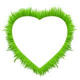 Cadre de coeur fait en herbe sur le blanc Ressort frais, frontière d'herbe verte d'été pour votre conception Images libres de droits