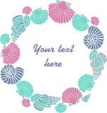 Cadre de coquillage de vecteur d'été pour le texte illustration libre de droits