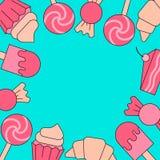 Cadre de corail de Brigth des bonbons - crème glacée, petit gâteau et sucrerie Ligne illustration plate de vecteur illustration libre de droits
