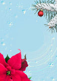 Cadre de fête avec la branche de poinsettia et de sapin illustration libre de droits