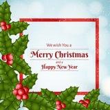 Cadre de fête de Noël avec la feuille réaliste de houx et la baie rouge Images stock