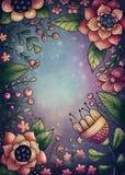 Cadre de fleurs et de plantes Photo libre de droits