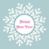 Cadre de flocon de neige Carte d'an neuf heureux Illustration de vecteur Photos stock