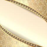 Cadre de fond avec des fleurs de soie avec le scintillement d'or Photos libres de droits