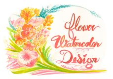 Cadre de fond d'aquarelle de fleur et design de carte de salutation Photos stock