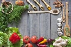 Cadre de fond de légumes et d'épices Photographie stock libre de droits