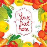 Cadre de frontière de légumes d'illustration de vecteur Image stock