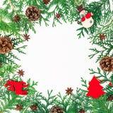 Cadre de frontière de Noël des arbres d'hiver, des cônes de pin et de décoration sur le fond blanc Concept de l'hiver Configurati Image stock