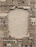Cadre de frontière sur le fond d'un mur de terre glaise avec la maçonnerie décorative L'espace opy de ¡ de Ð illustration stock