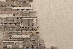 Cadre de frontière sur le fond d'un mur de terre glaise avec la maçonnerie décorative L'espace opy de ¡ de Ð Mur ruiné de pierre illustration libre de droits
