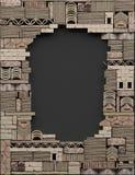 Cadre de frontière sur le fond noir avec la maçonnerie décorative L'espace opy de ¡ de Ð Mur ruiné des blocs et des briques en pi illustration de vecteur
