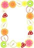 Cadre de frontière avec le fruit coupé en tranches Photo stock