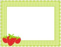 Cadre de guingan de fraise Photos libres de droits