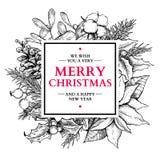 Cadre de guirlande de Noël Illustration tirée par la main de vecteur avec le holl Images stock