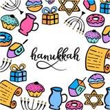 Cadre de Hanoucca dans le style de griffonnage Attributs traditionnels du menorah, dreidel, huile, Torah, beignet Lettrage de mai illustration de vecteur