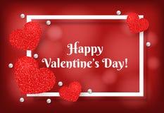 Cadre de jour du ` s de Valentine avec le coeur rouge de scintillement Image libre de droits