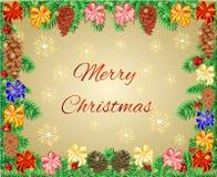 Cadre de Joyeux Noël des branches avec le vecteur de cônes de ruban et de pin Photos libres de droits