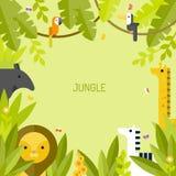 Cadre de jungle Animaux tropicaux d'ute de ¡ de Ð Images stock