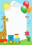 Cadre de la photo des enfants. Giraffe et train. Images stock