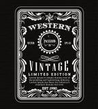 Cadre de label occidental de frontière de cadre de vintage rétro tiré par la main illustration de vecteur