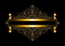 Cadre de luxe d'or et ruban de double or Images libres de droits