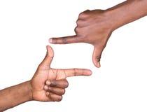 Cadre de main d'isolement sur le blanc Photo libre de droits