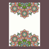 Cadre de mandalas de boho de Paisley d'Indien, format vertical Illu de vecteur Images stock