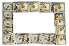 Cadre de maquette fait de billets de banque de cent-dollar d'isolement sur le blanc avec l'espace de copie Photographie stock libre de droits