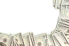 Cadre de maquette fait de billets de banque de cent-dollar d'isolement sur le blanc avec l'espace de copie Image libre de droits